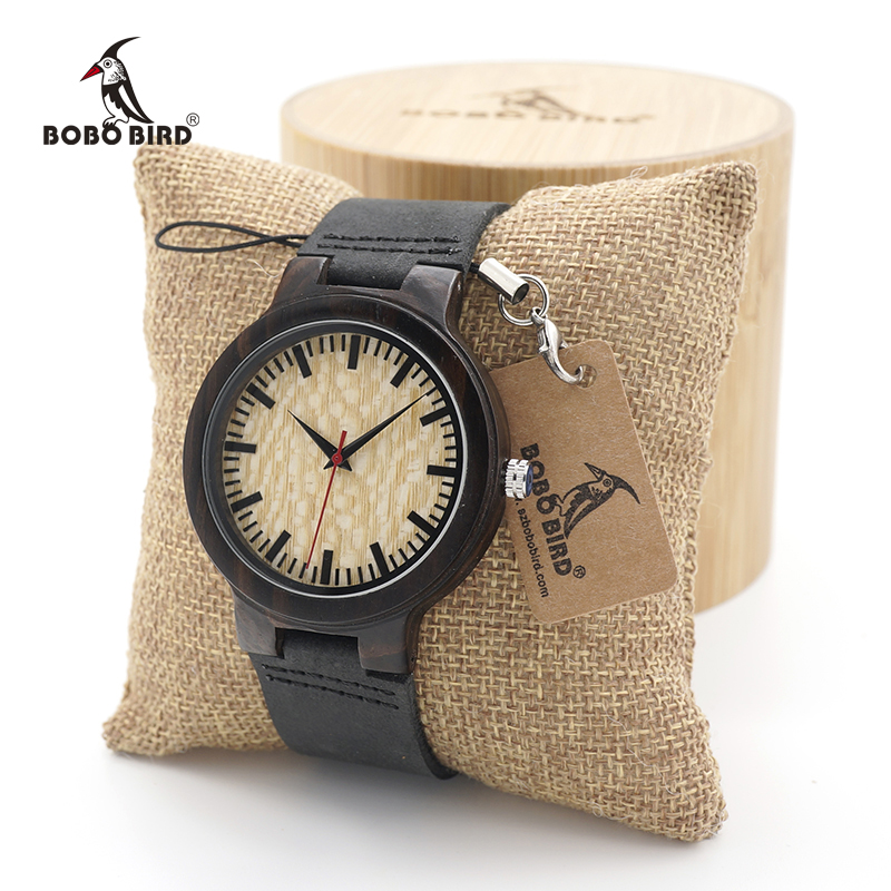 BOBO BIRD Men Ebony Wood Design Watches bamboo Quartz Watch Brand Luxury Wood Bamboo Wrist Watch in Wood Gift Box bobo bird full round vintage ebony wood case men watch with wood face with ebony wood strap japanese movement quartz in gift box