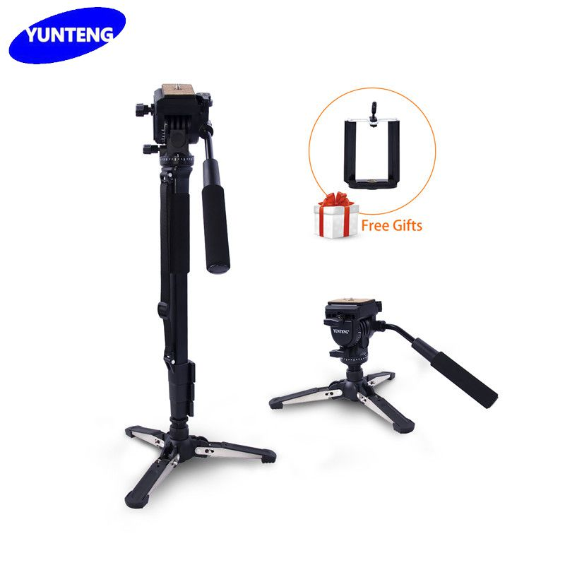 yunteng VCT-288 Photography Mini Tripod Monopod Stand&Fluid Pan Head Quick Release Plate and Unipod Holder For DSLR Camera Phone