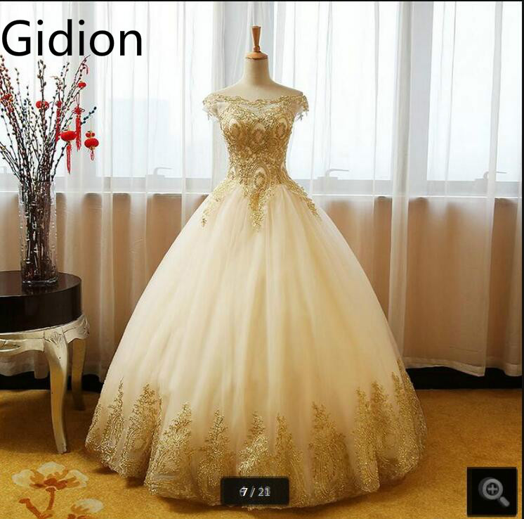 Vestido De Festa ball gown gold lace appliques wedding dresses princess off the shoulder sexy simple bride dress free shipping