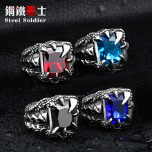 drop shipping exqusite Dragon Claw Ring With Red Blue Black Stone Stainless Steel jewelry for men(China)