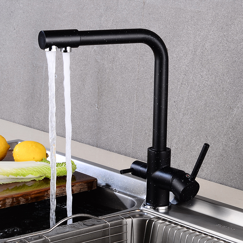 New Style Black Right Angle Kitchen Water  Purifica  Faucet With Filtered Water Double Spout Kitchen Tap Bronze Sink Mixer