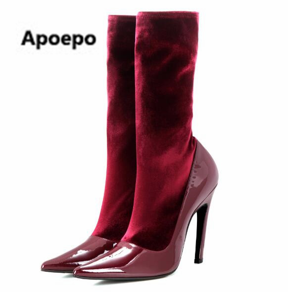 Apoepo 2017 ladies boots red blue sexy high heels pumps boots women mid-calf stretch fabric boots dress shoes big size 34-43 ...
