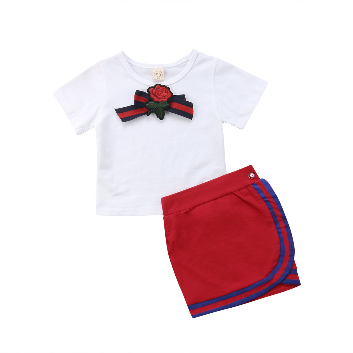все цены на Newborn Kids Baby Girls Clothes Sets Bow Flower Tie Tops Short Sleeve T-shirt Skirts 2pcs Cotton Outfits Set Girl 1-5T онлайн