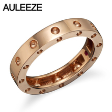 Fine Jewelry Natural Ruby Engagement Rings For Women 10K Solid Rose Gold Wedding Band Hole Tension Set Matchings Band