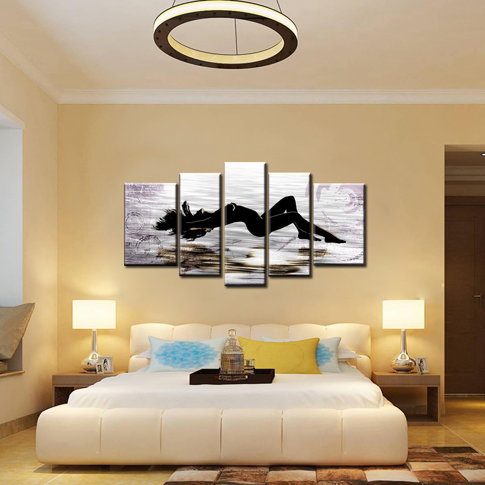 5 piece canvas wall art black and white art naked paintings ...