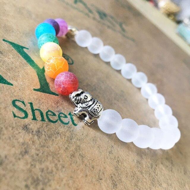 Luxury Rainbow Penyembuhan Chakra Yoga Gelang Batu Alam Perhiasan Braclets Wanita Pria Etnis India Gajah Meditasi