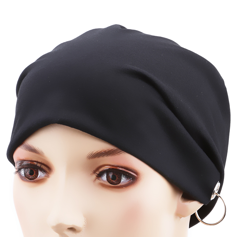 Persevering Monochrome Iron Ring Head Cap Men And Women Europe And America Spring And Autumn Hip Hop Turban Hoops Heap Hat To Be Renowned Both At Home And Abroad For Exquisite Workmanship, Skillful Knitting And Elegant Design