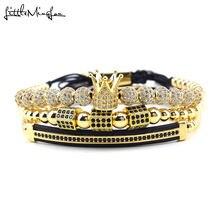 3 шт/компл роскошный женский браслет с круглым кубическим цирконием