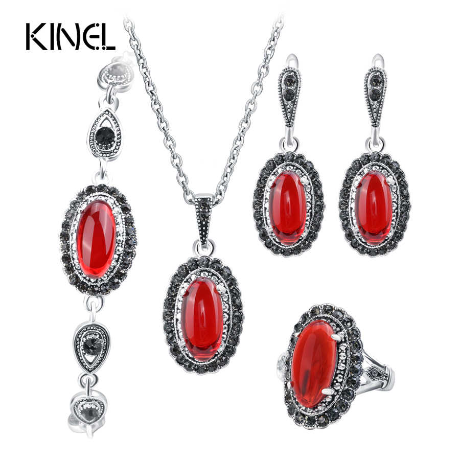Kinel New 4Pcs Retro Jewelry Sets Red Pendant Necklace And Earring Bracelet Ring For Women Fashion Jewelry Set Gift