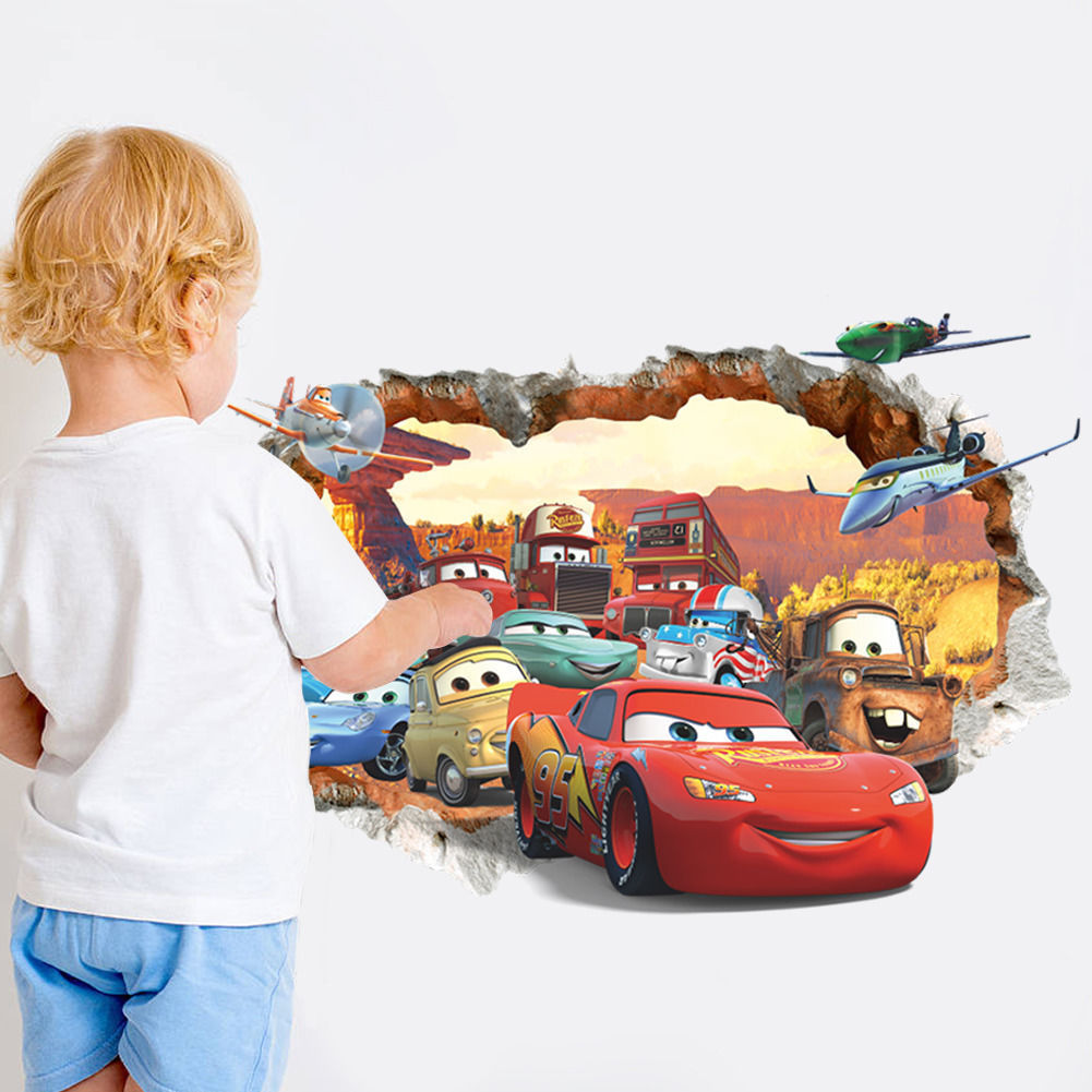 3d vision cracked cartoon cars wall stickers vinyl art for Cars wall mural sticker