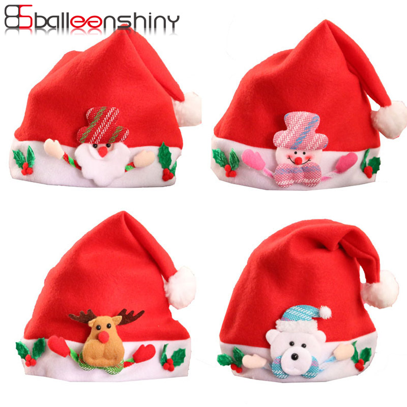 купить BalleenShiny Children Kids Christmas Santa Claus Snowman Hat Elk Reindeer Snowflakes Hat Baby Christmas Decoration New Year Gift онлайн