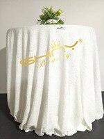48 ''-132'' Ronde Choisir Votre Taille Blanc Sequin Nappe En Gros De Mariage Belle Sequin Table Tissu/Overlay/couverture