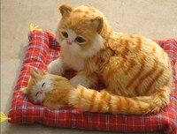Simulazione cat modello 24x20 cm mother & child gatto, può fare la voce miaow, polietilene resina artigianato, decorazione della casa regalo a1844
