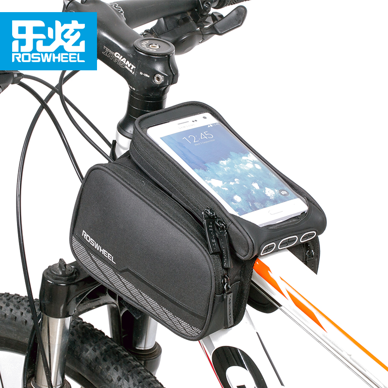 ROSWHEEL 5.7 Black Bicycle Front Tube Bag Mountain Bike Phone Case Bag Bicycle Bycicle Double Pannier Pouch Cycling equipment
