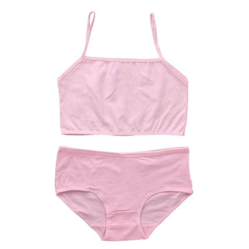 Rắn Đào Tạo Bộ Đồ Lót Áo Ngực Cotton Tuổi Teen Tuổi Dậy Thì Sinh Viên Áo Ngực Vest Cái Yếm Quần Lót