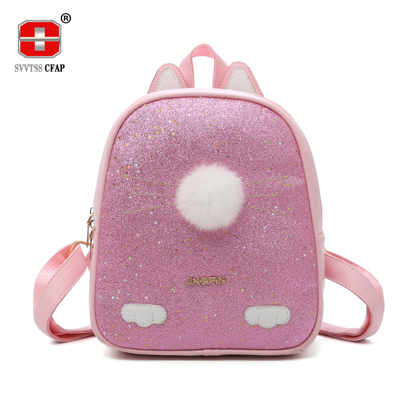 Cute Cartoon Cat backpack girls Small Quality Solid Pu Leather Fashion women Back pack Female Casual Back Bag Ladies 2018