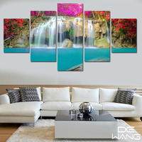 5 Panel Waterfall Landscape Painting Low Price Modern Pictures Canvas Wall Artwork Big Poster For Living