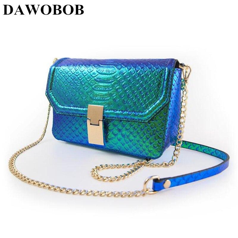 Nouveau femmes Messenger chaînes sacs en cuir véritable rabat femmes sacs à bandoulière Laser dégradé couleur petit sac de soirée pochette rabat