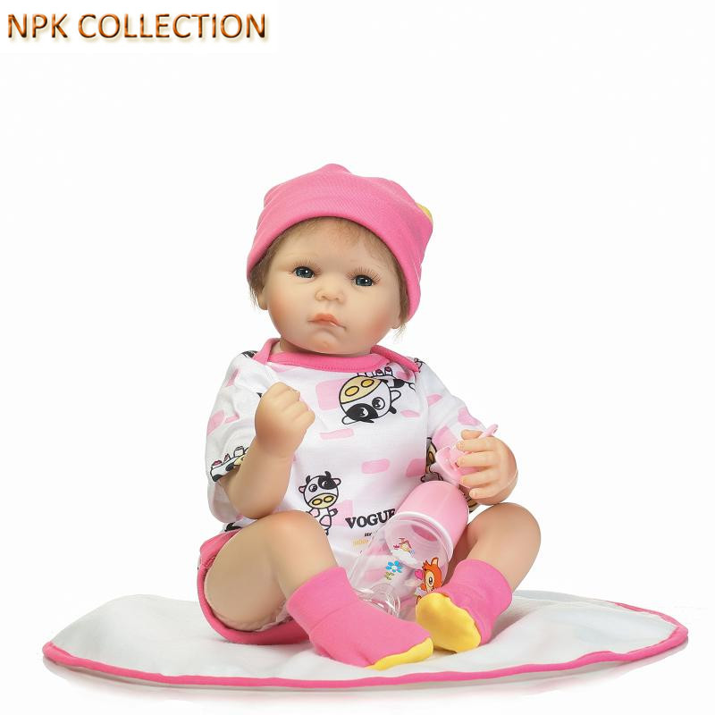NPK COLLECTION Silicone Reborn Baby Dolls Real Looking Baby Alive Boneca Reborn Baby Born Doll Toys for Kids Girls Birthday Gift ucanaan 1 3 bjd girl dolls 19 ball jointed doll with outfit dress wig eyes makeup sd dolls for girls collection kids toys boneca