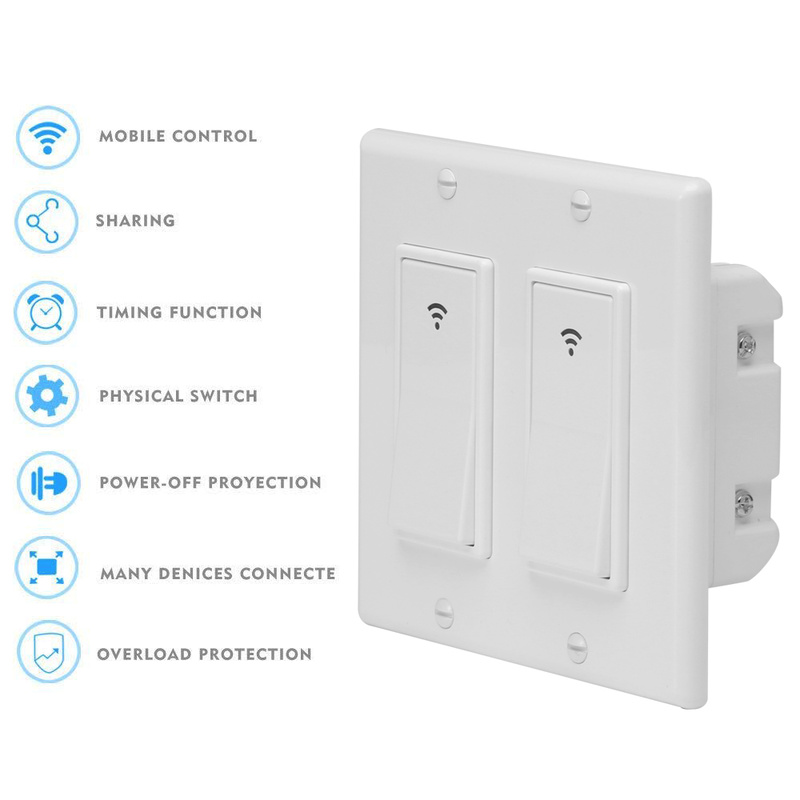 Smart Light Switch >> Us 19 92 16 Off Wifi Smart Light Switch Wireless Remote Control In Wall Timer Switch For Fan Lights Compatible With Alexa Google Home No Hub In Home