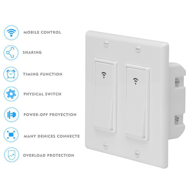 WiFi Smart Light Switch Wireless Remote Control In Wall Timer Switch ...
