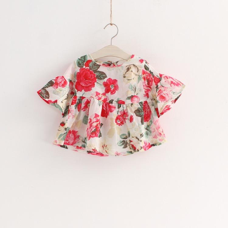 new fashion 2015 summer girls blouse lovely flower pattern Speaker sleeve girl kids blouse for 2~7 age girls infant clothes