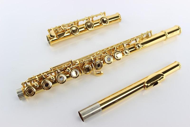 Высокая качество 17 отверстия Открыть c мелодия ключ e margewate Флейта Профессиональный Музыкальные инструменты Мельхиор позолоченный Флейта с