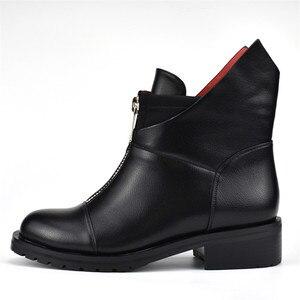 Image 2 - FEDONAS mode nouvelles femmes bottines épais talons hauts chaud court dames chaussures dames automne hiver moto bottes chaussures femme