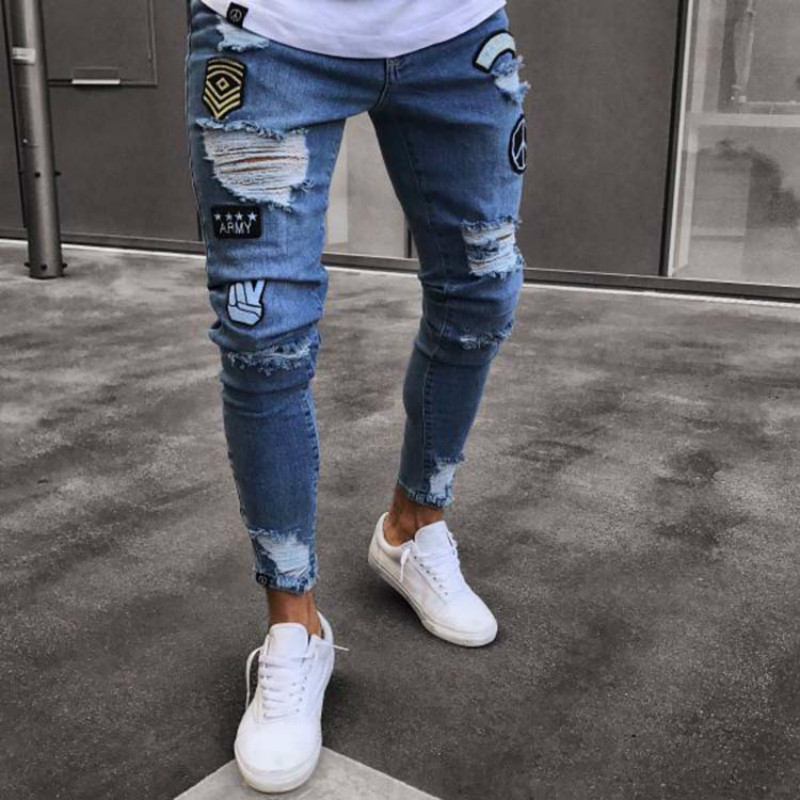 S-3XL Men's   Jeans   Trend Fashion Knee Holes Pants Pants Personalized Joker Denim Pants Fashion Casual Mid-rise Trousers