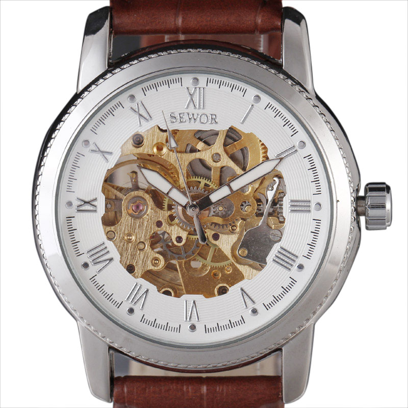 compare prices on best skeleton watches online shopping buy low 2016 brand luxury sewor classic best gift skeleton watch men brown leather strap male hollow mechanical