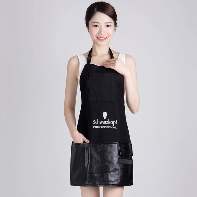 HOT Canvas Cloth Joint Leather Hairdresser Apron Hairdressing Hair Cutting Cape for Barber Hairstylist Practical Work Cloth 1119
