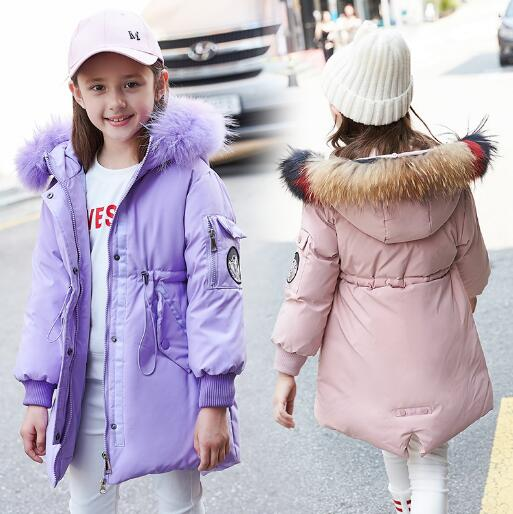 Winter Jacket for Girls Fur Collar Hooded Duck Down Coat Kids Warm Thicken Parka for Girl Outwear Children Clothes цена