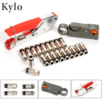 цена на Wire Stripping Plier Kit Connector Compression Tool For RG6 RG59 F Fitting Coaxial Cable Crimper Striper Terminal crimping plier