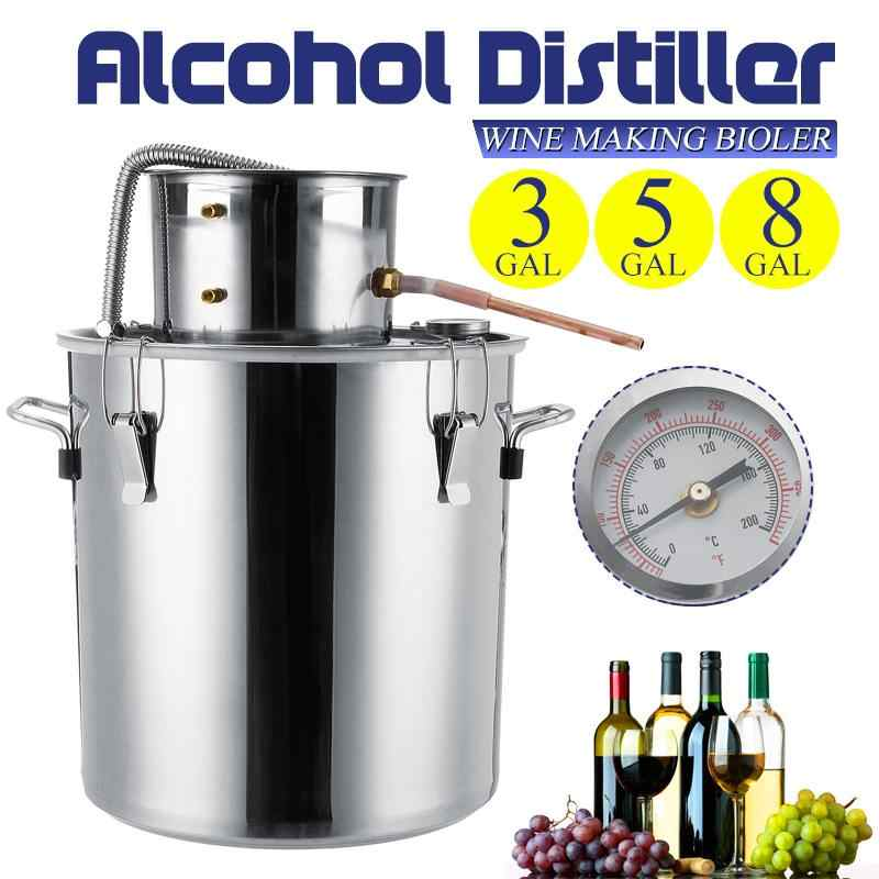 3/5/8GAL Distiller Moonshine Alcohol Distiller Stainless Steel DIY Home Water Wine Essential Oil Brewing Kit