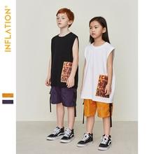 INFLATION Summer Vest Shorts For Boys Children Kids Sets Loose Casual Streetwear Hip Hop Boy Short Pants Clothes Tops 19210S