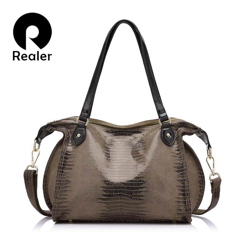 REALER Alligator Women Genuine Leather Shoulder Bags High Quality Crocodile Pattern Leather Handbags Female Tote Bag 2019