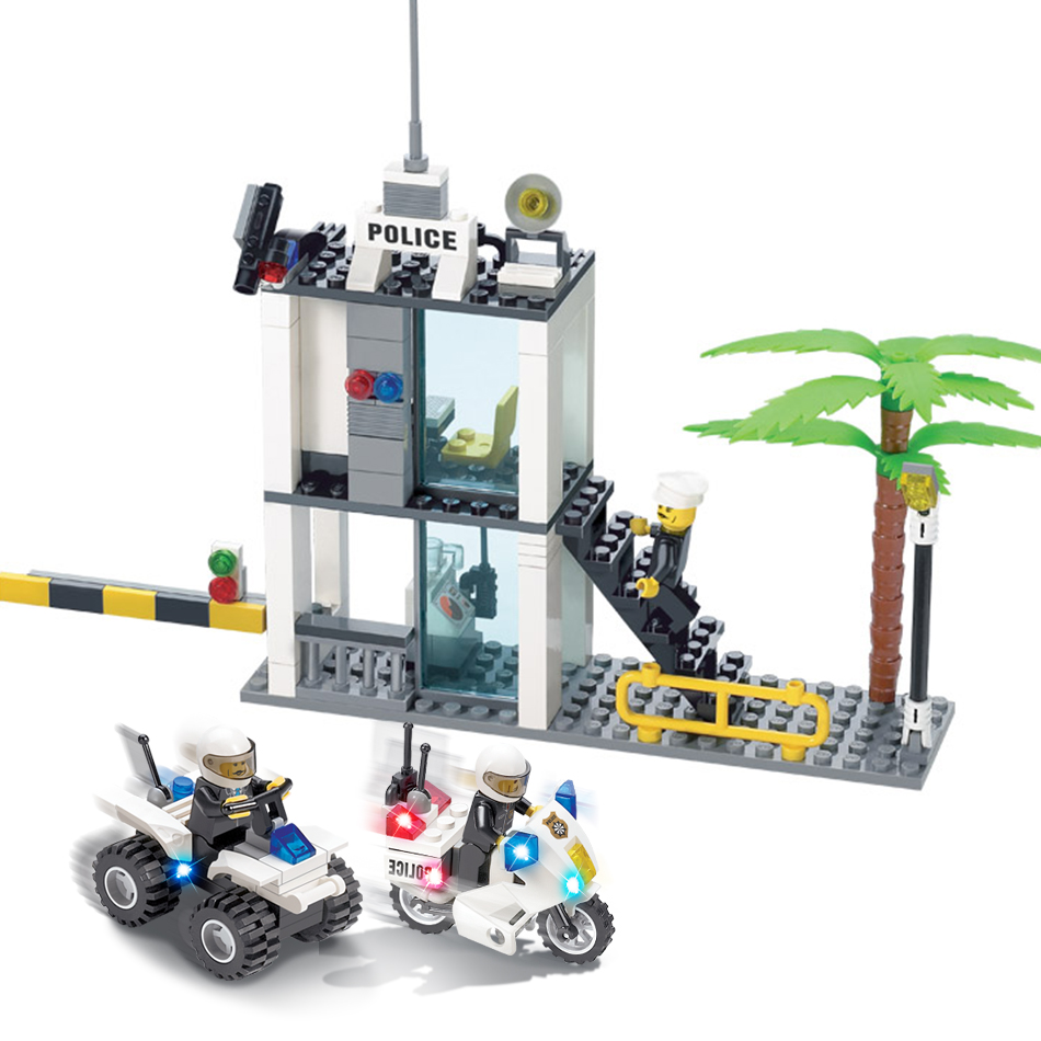 KAZI 193pcs Police Command Center Motorcycle Police Station Building Blocks Compatible Legoed children toys Construction bricks kazi 6726 police station building blocks helicopter boat model bricks toys compatible famous brand brinquedos birthday gift