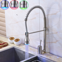 New LED Color Changing Bathroom Kitchen Water Taps Single Lelver One Hole Pull Down Kitchen Mixer