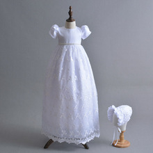 2019 High Quality Custom Outfit Ivory White 1 Year Birthday Girl Baptism Gowns Baby Lace Dress Extra Long Christening