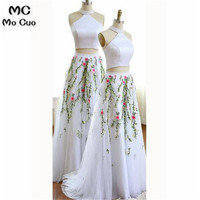 2019 Two Pieces Gown White Evening Dresses with Appliques Tulle Formal Evening Gown Evening Party Dress for Women
