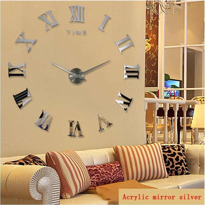 promotion 2019 new diy wall clock home decor large roman mirror fashion modern Quartz clocks living room watch free shipping(China)