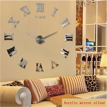 promotion 2015 new home decor large roman mirror fashion modern Quartz clocks living room diy wall clock watch free shipping