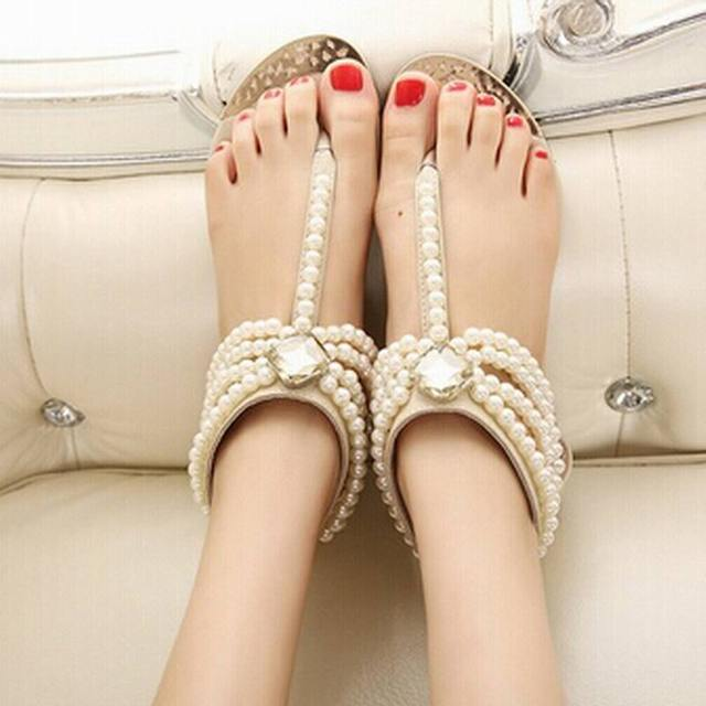 a130d2c2a91558 Shoes Woman Nice Summer Shoes Flat Sandals Women Bohemia Handmade Beaded  Flats Female Sandals Pearl Rhinestone
