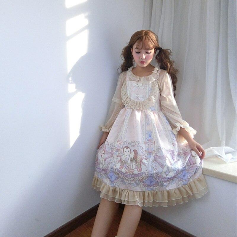Lolita Zwei stück Anzug Cartoon Japan Stil Mädchen Kleid Spaghetti Strap + Top Süße Nette Spitze Rüschen Frau Kleid temperament Kleid