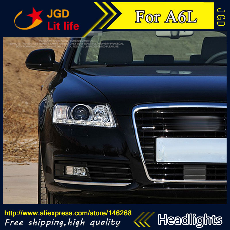 Free shipping ! Car styling LED HID Rio LED headlights Head Lamp case for Audi A6L 2009-2011 Bi-Xenon Lens low beam free shipping for vland factory for car head lamp for audi for a3 led headlight 2008 2009 2010 2011 2012 year h7 xenon lens