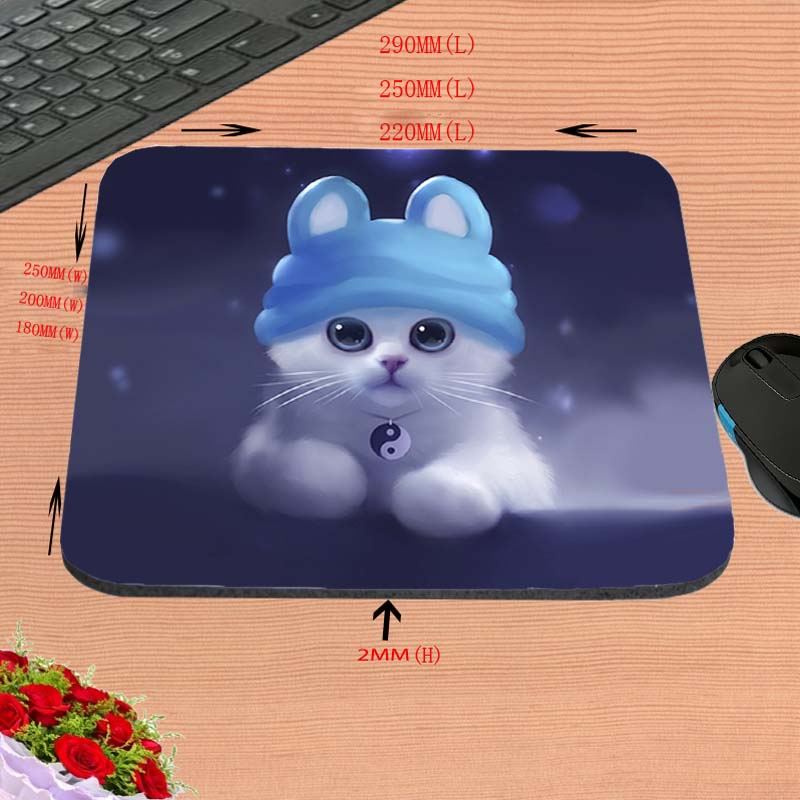 Lovely cartoon cat Hot Sell Print Anti-slip New Arrival Customized Mouse Pad Computer PC Nice Gaming Rectangular Mouse Mat