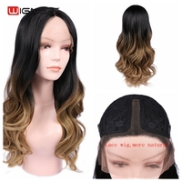 Wignee Synthetic Lace Front Wigs For Women High Density Temperature Middle Part Black Brown/Ash Blond Glueless Cosplay Hair Wig