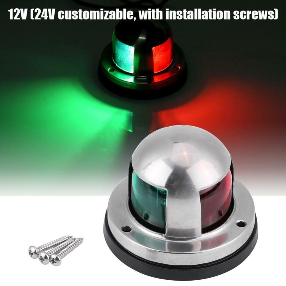 Red Green Signal Light Waterproof Stainless Steel Housing 12V/24V Navigation Lamp For Yacht WIF66