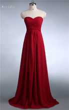 ZJ0039 wine red colored chiffon strapless prom party dresses new fashion 2013 bridesmaid dress long(China)