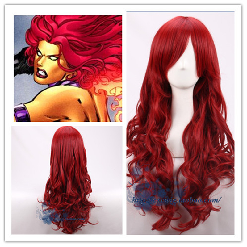 Comic Batman Poison Ivy Pamela Lillian Isley Dark Red Synthetic Wig Cosplay Hair Halloween Party Role Play + Wig Cap